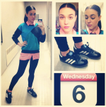 Forever 21 sweater, H&M collared shirt, H&M leggings, Adidas Samba shoes