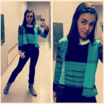 Forever 21 sweater, Arizona black jeans