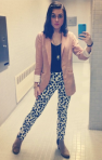 H&M blazer, JCPenney tank, H&M Pants, Forever 21 necklace, Shoedazzle shoes